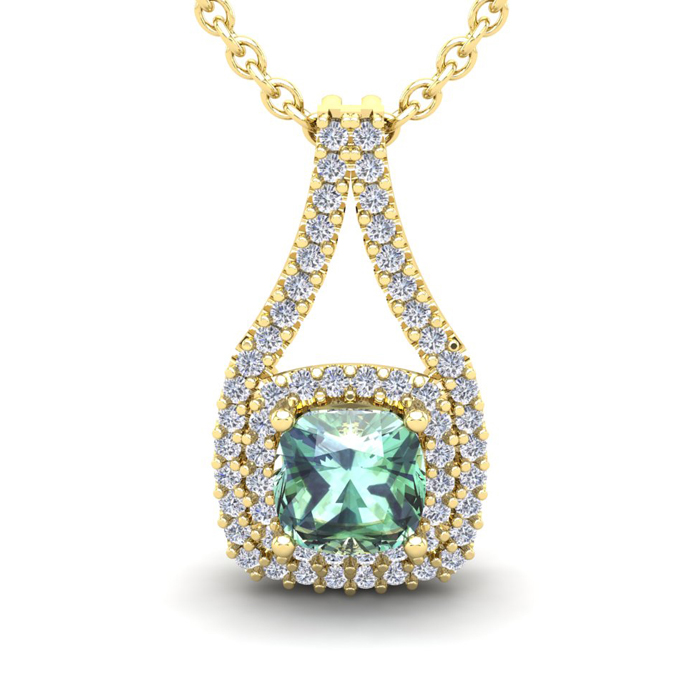 2 Carat Cushion Cut Green Amethyst & Double Halo Diamond Necklace