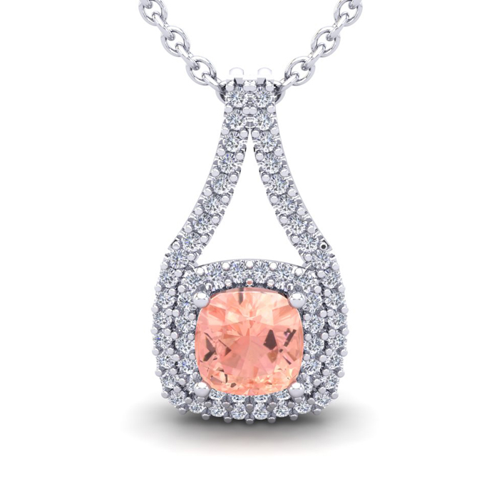 2 1/4 Carat Cushion Cut Morganite & Double Halo Diamond Necklace