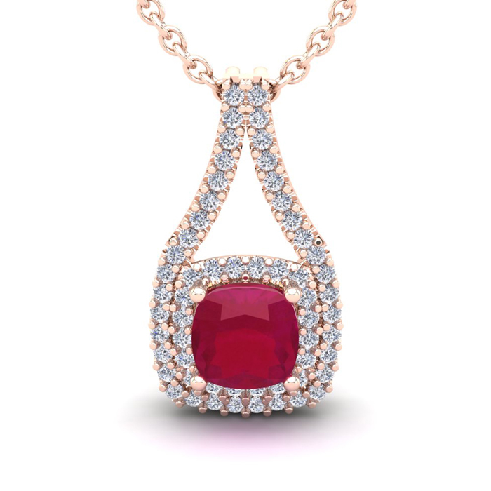 2 1/3 Carat Cushion Cut Ruby & Double Halo Diamond Necklace in 14