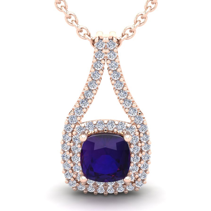 2 3/4 Carat Cushion Cut Amethyst & Double Halo Diamond Necklace i
