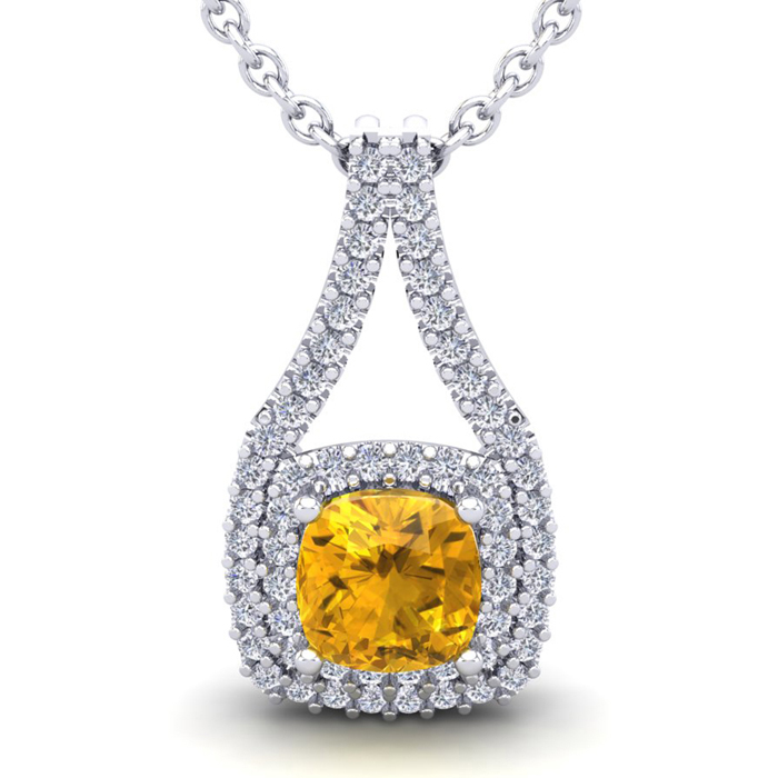 2 3/4 Carat Cushion Cut Citrine & Double Halo Diamond Necklace in 14K White Gold (3.9 g), 18 Inches, I/J by SuperJeweler