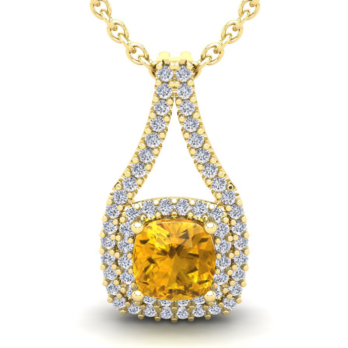 2 3/4 Carat Cushion Cut Citrine & Double Halo Diamond Necklace in