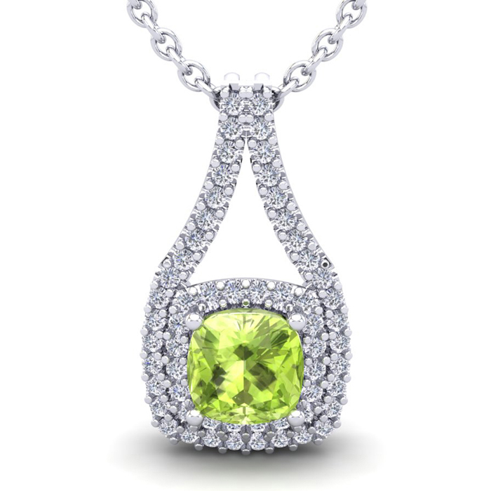 3 1/3 Carat Cushion Cut Peridot & Double Halo Diamond Necklace in