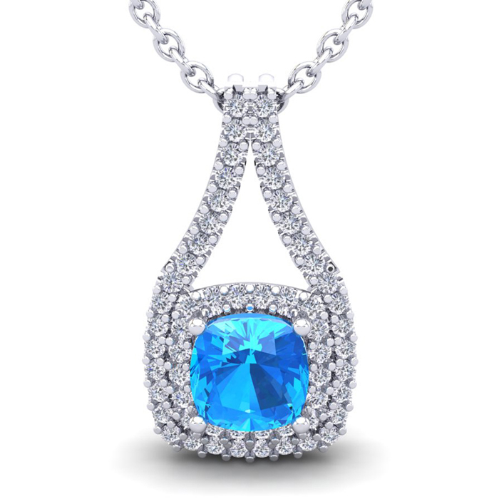 3 1/2 Carat Cushion Cut Blue Topaz & Double Halo Diamond Necklace