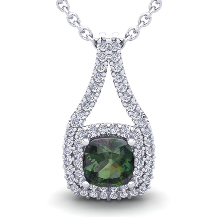 2 3/4 Carat Cushion Cut Mystic Topaz & Double Halo Diamond Neckla