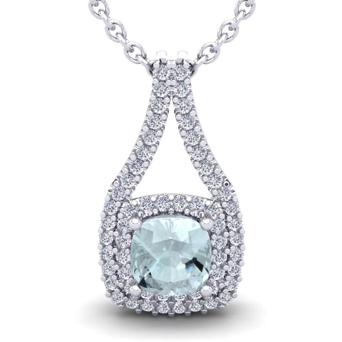 2 3/4 Carat Cushion Cut Aquamarine & Double Halo Diamond Necklace