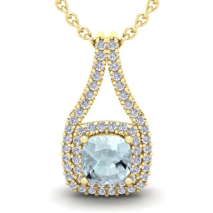 2 3/4 Carat Cushion Cut Aquamarine & Double Halo Diamond Necklace