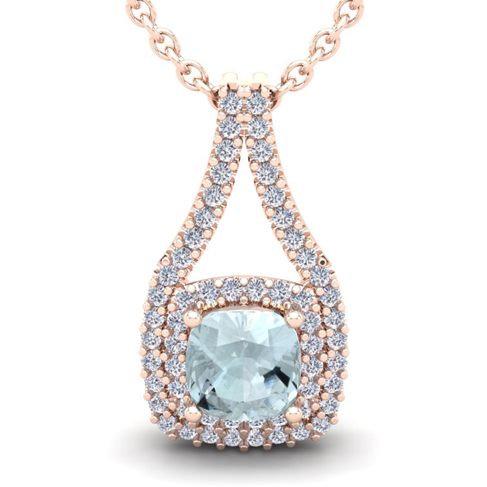 2 3/4 Carat Cushion Cut Aquamarine and Double Halo Diamond Necklace In 14 Ka..