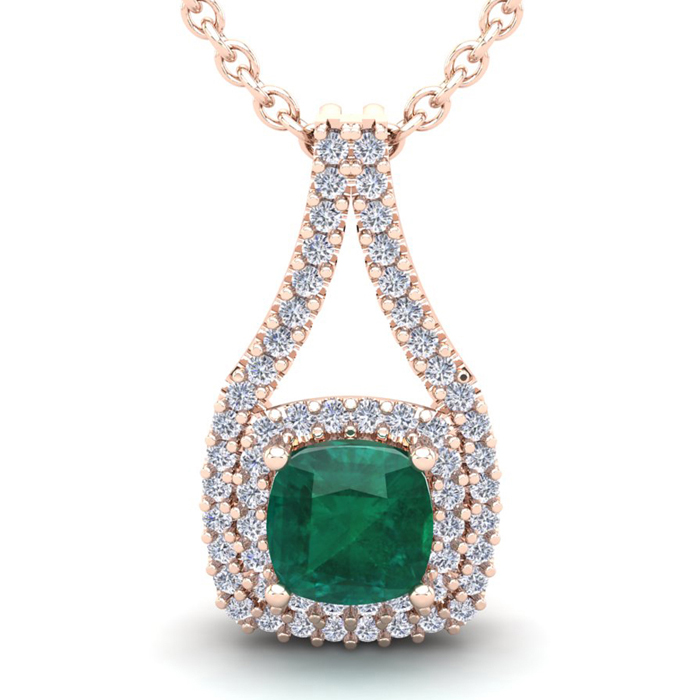 2 3/4 Carat Cushion Cut Emerald & Double Halo Diamond Necklace in