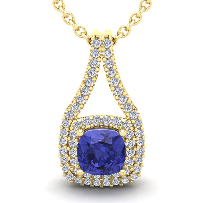 3 1/3 Carat Cushion Cut Tanzanite & Double Halo Diamond Necklace
