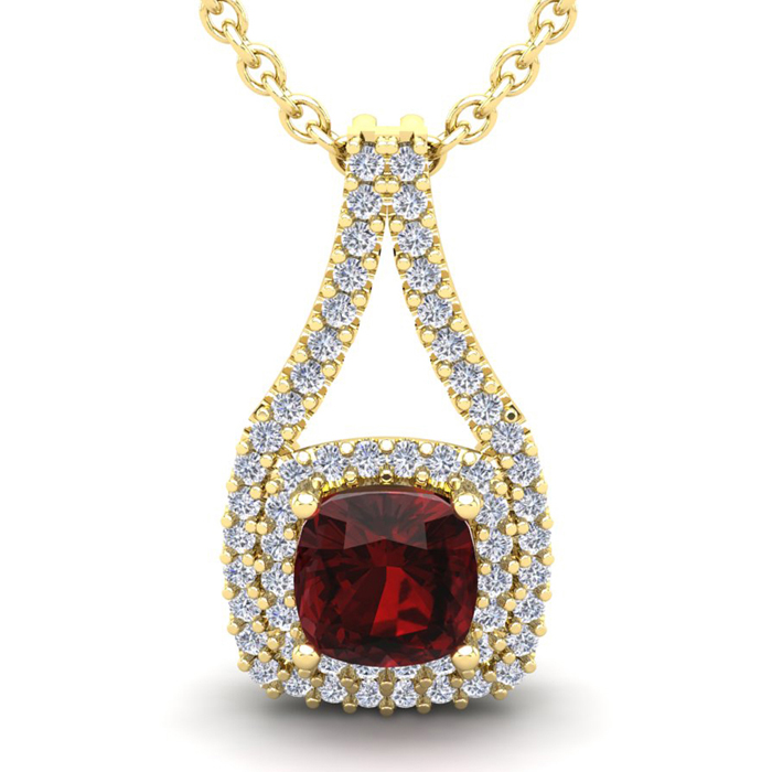 4 Carat Cushion Cut Garnet & Double Halo Diamond Necklace in 14K Yellow Gold (3.9 g), 18 Inches, I/J by SuperJeweler