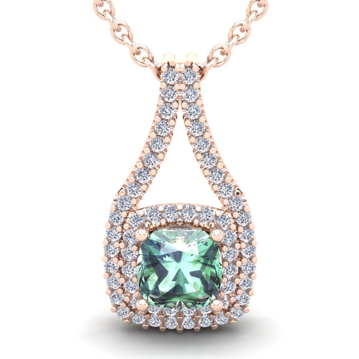 2 3/4 Carat Cushion Cut Green Amethyst & Double Halo Diamond Necklace in 14K Rose Gold (3.9 g), 18 Inches, I/J by SuperJeweler