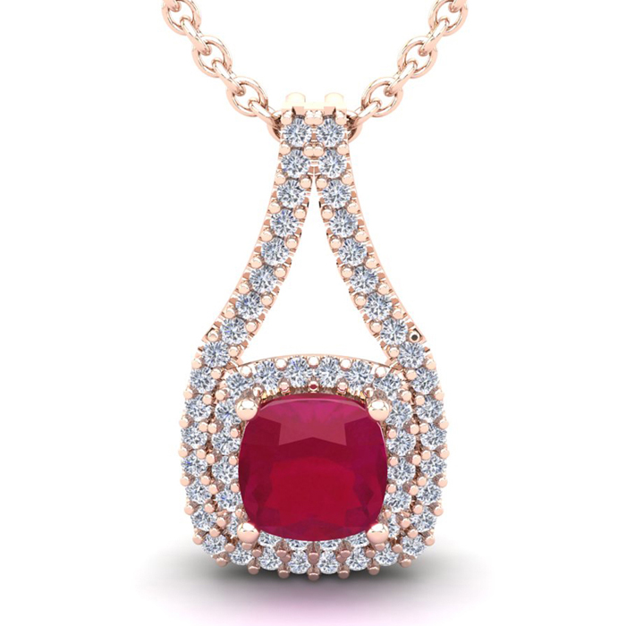 3 3/4 Carat Cushion Cut Ruby & Double Halo Diamond Necklace in 14