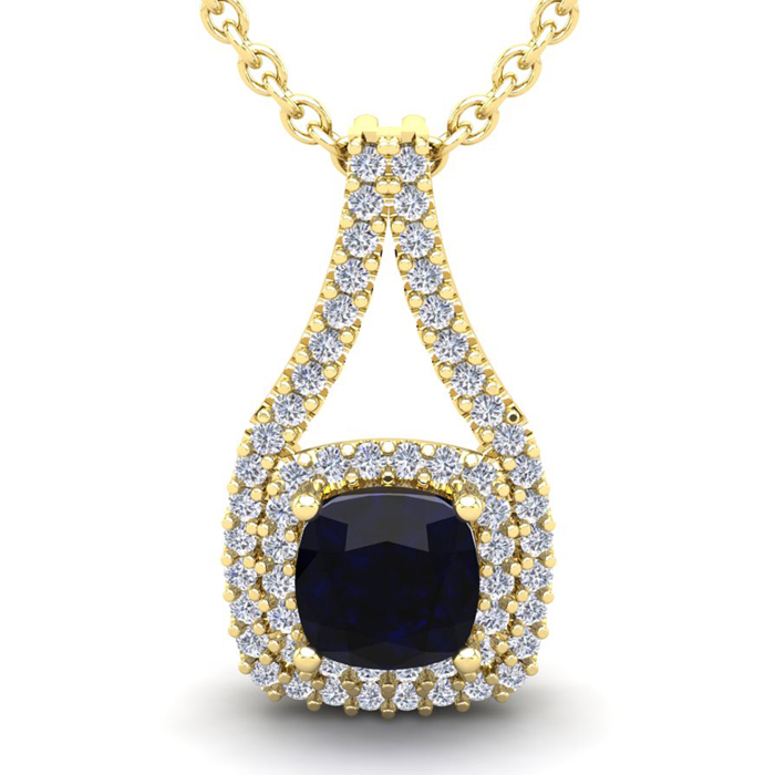 3 3/4 Carat Cushion Cut Sapphire & Double Halo Diamond Necklace in 14K Yellow Gold (3.9 g), 18 Inches, I/J by SuperJeweler