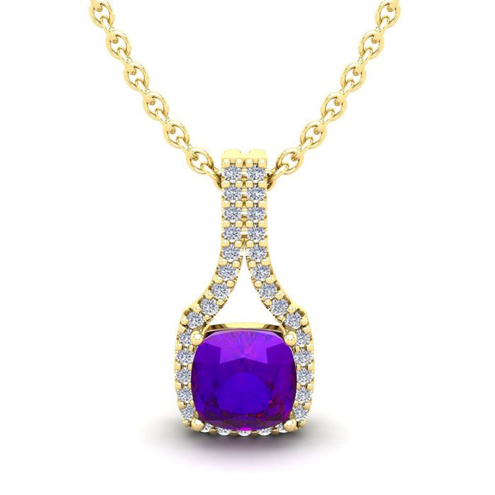 1 Carat Cushion Cut Amethyst and Classic Halo Diamond Necklace In 14 Karat Y..