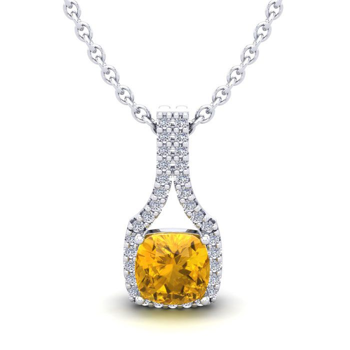 1 Carat Cushion Cut Citrine and Classic Halo Diamond Necklace In 14 Karat Wh..