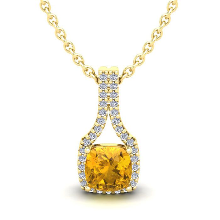 1 Carat Cushion Cut Citrine and Classic Halo Diamond Necklace In 14 Karat Ye..