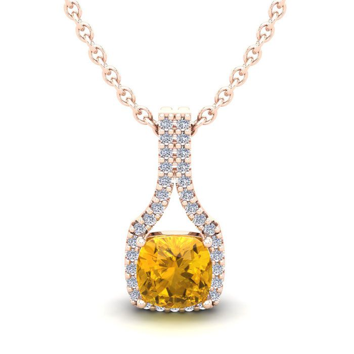 1 Carat Cushion Cut Citrine & Classic Halo Diamond Necklace in 14