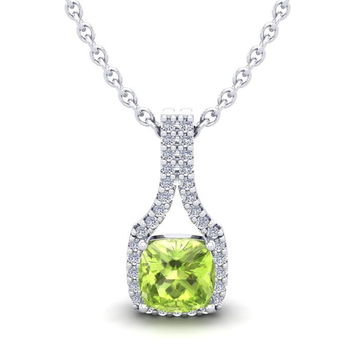 1.25 Carat Cushion Cut Peridot & Classic Halo Diamond Necklace in