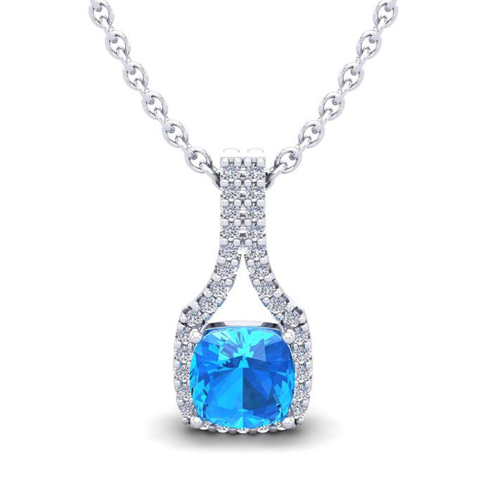 1 1/3 Carat Cushion Cut Blue Topaz & Classic Halo Diamond Necklace in 14K White Gold (2.1 g), 18 Inches, I/J by SuperJeweler