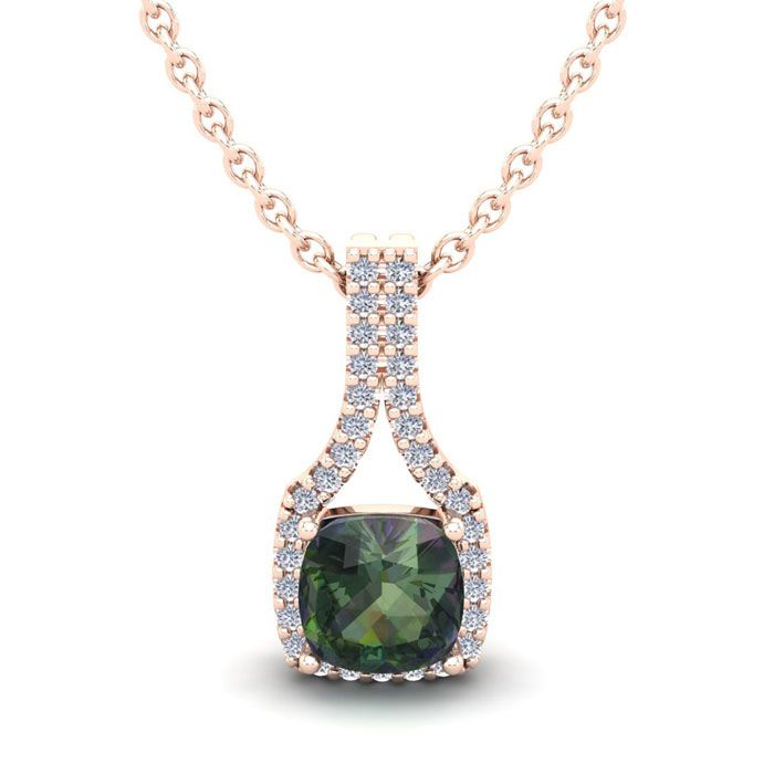 1.5 Carat Cushion Cut Mystic Topaz & Classic Halo Diamond Necklac