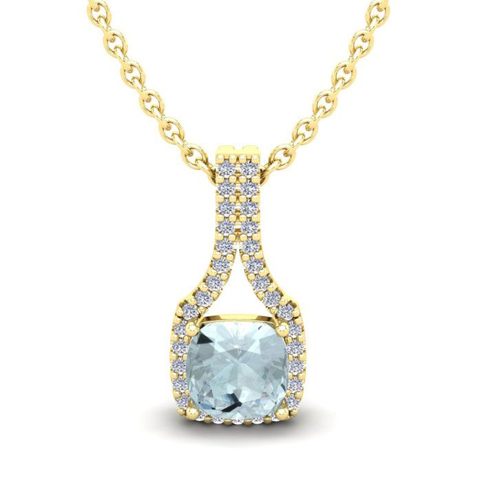 1 Carat Cushion Cut Aquamarine and Classic Halo Diamond Necklace In 14 Karat..