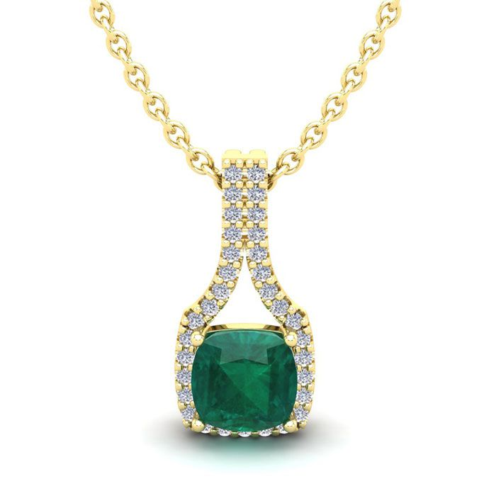 1 1/3 Carat Cushion Cut Emerald & Classic Halo Diamond Necklace i