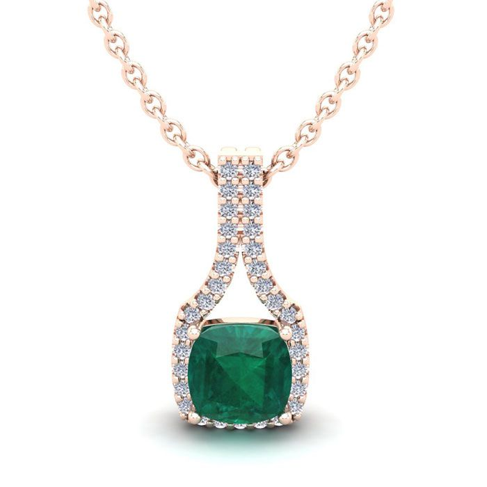 1 1/3 Carat Cushion Cut Emerald & Classic Halo Diamond Necklace i