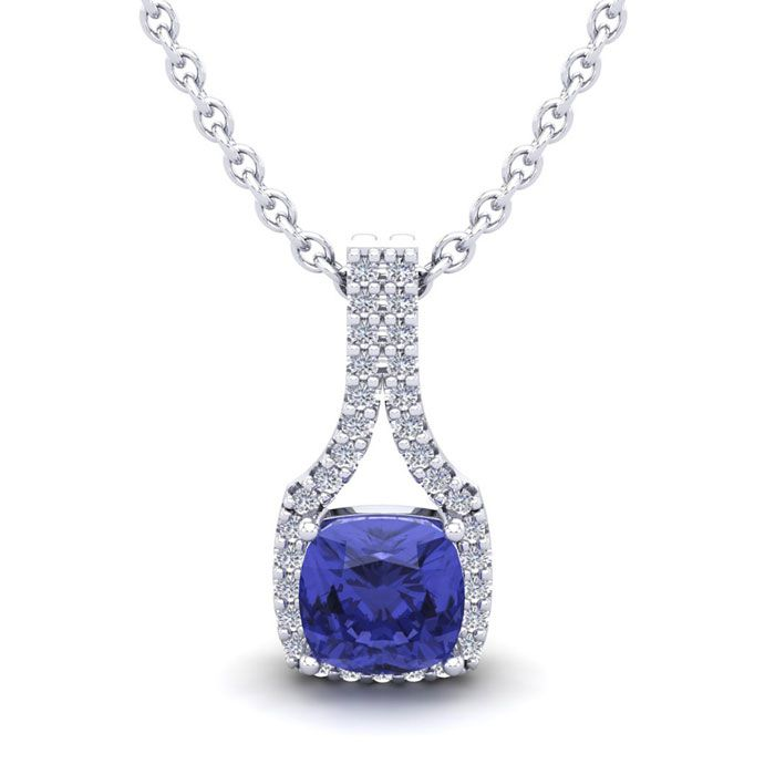 1 1/4 Carat Cushion Cut Tanzanite and Classic Halo Diamond Necklace In 14 Ka..