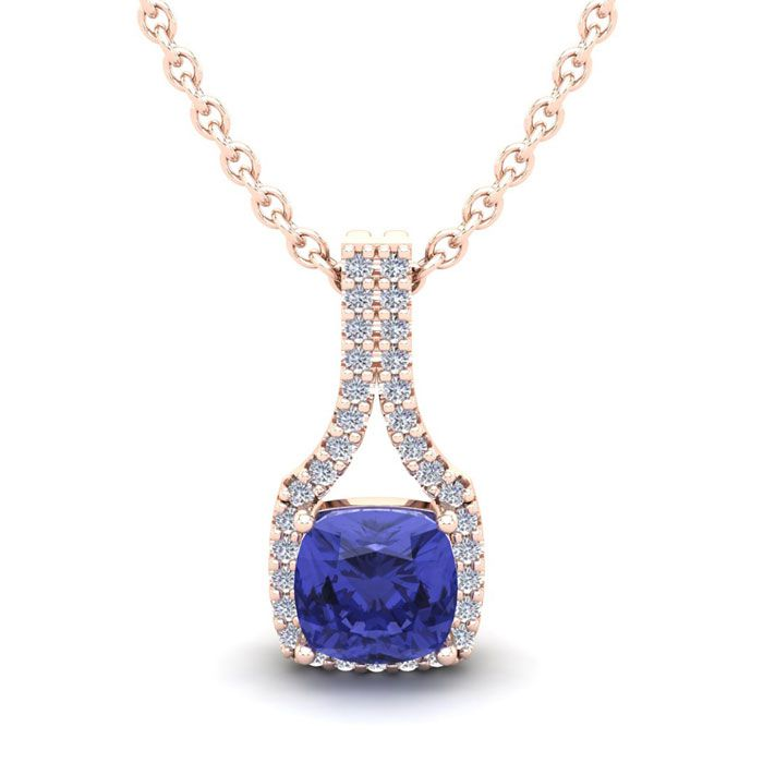 1.25 Carat Cushion Cut Tanzanite & Classic Halo Diamond Necklace