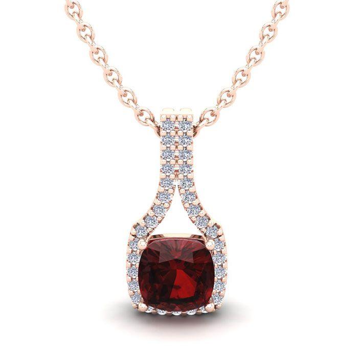 1 1/3 Carat Cushion Cut Garnet & Classic Halo Diamond Necklace in