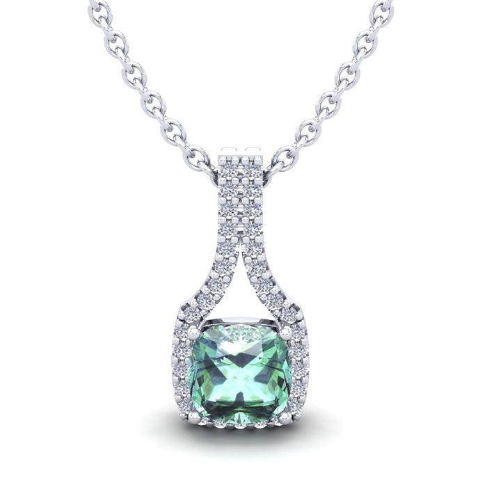 1 Carat Cushion Cut Green Amethyst & Classic Halo Diamond Necklac