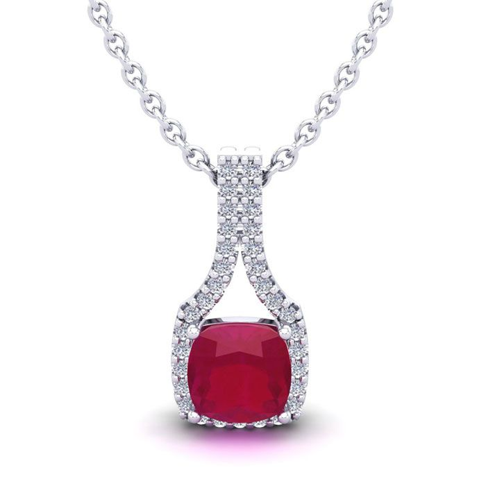 1 1/2 Carat Cushion Cut Ruby and Classic Halo Diamond Necklace In 14 Karat W..