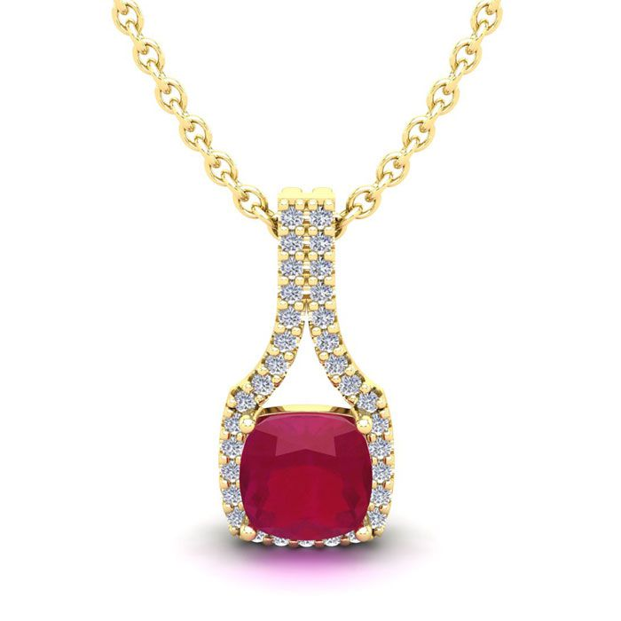 1 1/2 Carat Cushion Cut Ruby and Classic Halo Diamond Necklace In 14 Karat Y..