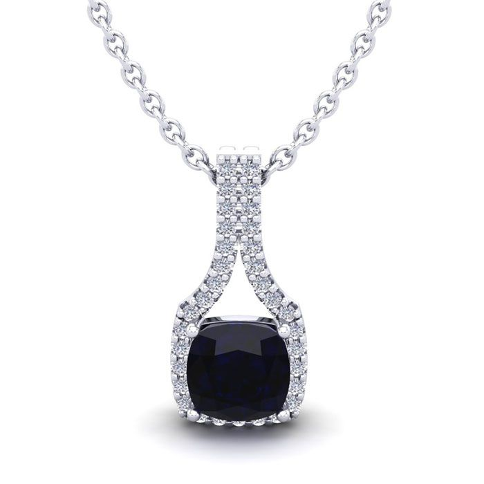 1 1/4 Carat Cushion Cut Sapphire and Classic Halo Diamond Necklace In 14 Kar..