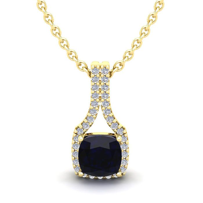 1.25 Carat Cushion Cut Sapphire & Classic Halo Diamond Necklace i