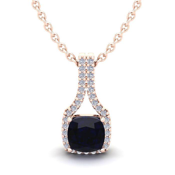 1.25 Carat Cushion Cut Sapphire & Classic Halo Diamond Necklace i