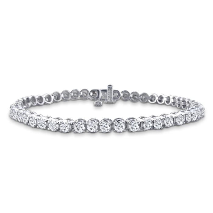 Image of CUSTOM BEZEL SETTING 8 Inch, 3 1/2ct Round Based Diamond Tennis Bracelet in 14k White Gold