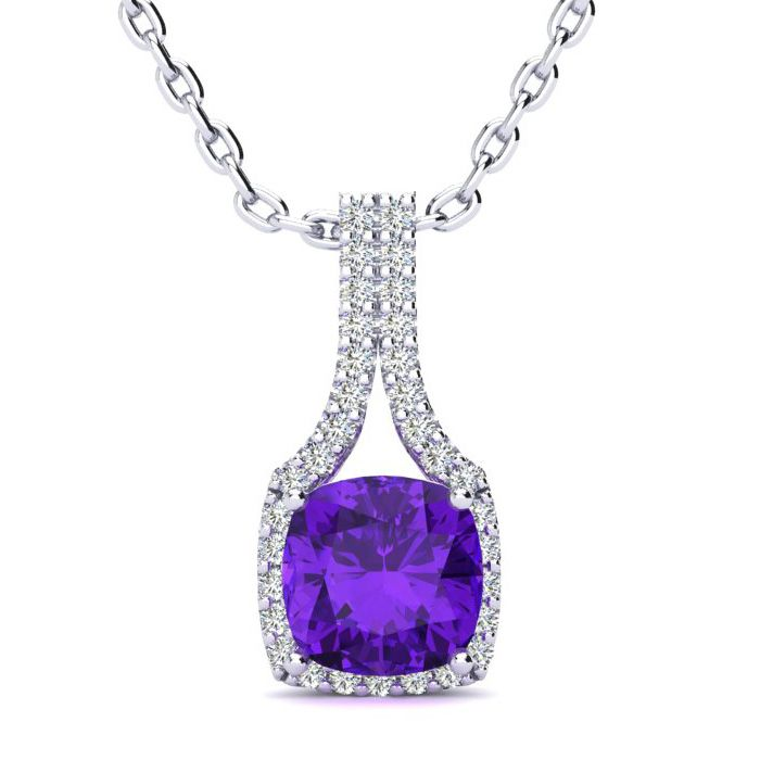2 Carat Cushion Cut Amethyst & Classic Halo Diamond Necklace in 1