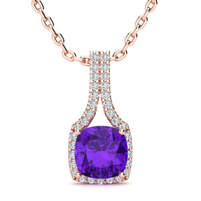 2 Carat Cushion Cut Amethyst and Classic Halo Diamond Necklace In 14 Karat R..