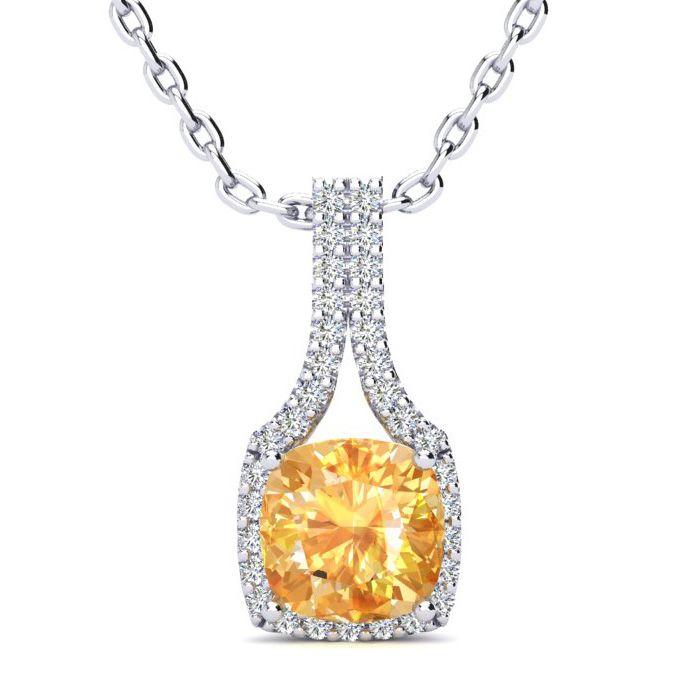 1 3/4 Carat Cushion Cut Citrine & Classic Halo Diamond Necklace i