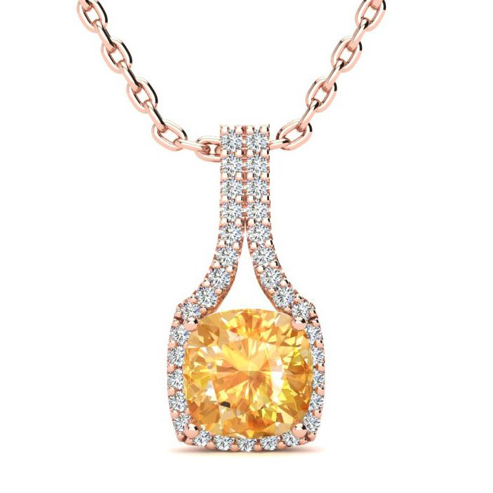 1 3/4 Carat Cushion Cut Citrine & Classic Halo Diamond Necklace i