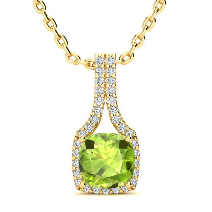 1 3/4 Carat Cushion Cut Peridot and Classic Halo Diamond Necklace In 14 Kara..