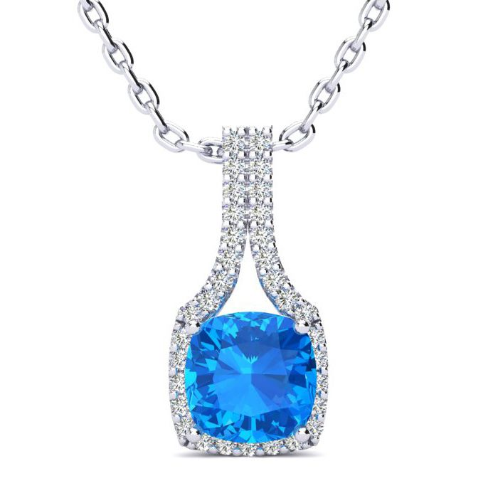 2 Carat Cushion Cut Blue Topaz and Classic Halo Diamond Necklace In 14 Karat..