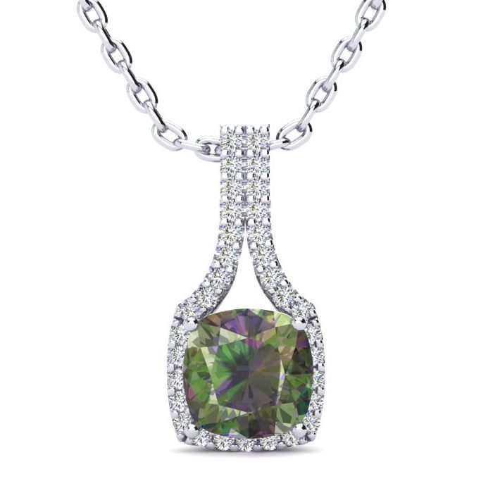 2 Carat Cushion Cut Mystic Topaz & Classic Halo Diamond Necklace in 14K White Gold (2.8 g), 18 Inches, I/J by SuperJeweler