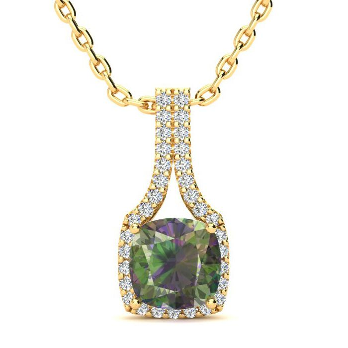 2 Carat Cushion Cut Mystic Topaz & Classic Halo Diamond Necklace