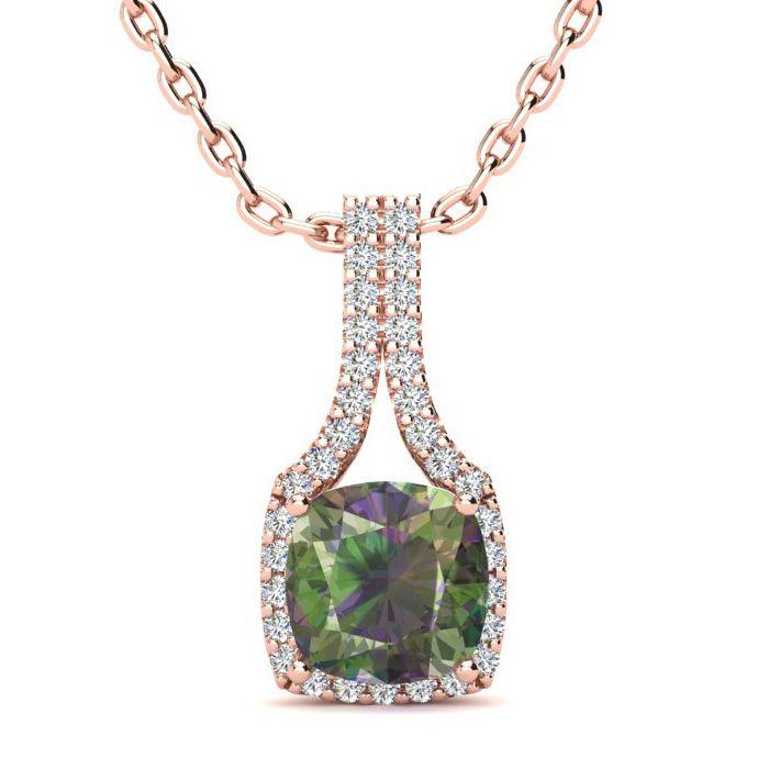 2 Carat Cushion Cut Mystic Topaz & Classic Halo Diamond Necklace