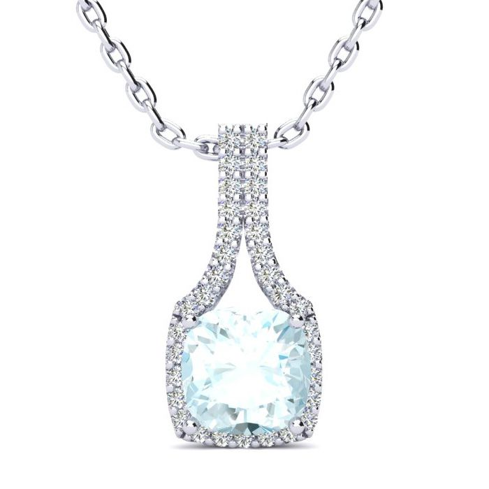 2 Carat Cushion Cut Aquamarine and Classic Halo Diamond Necklace In 14 Karat..