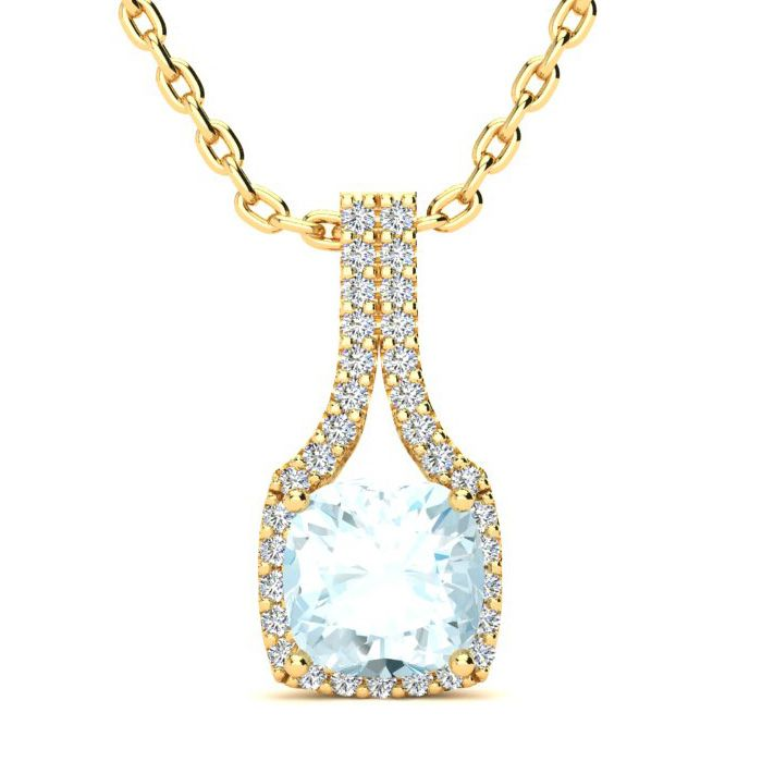 2 Carat Cushion Cut Aquamarine & Classic Halo Diamond Necklace in