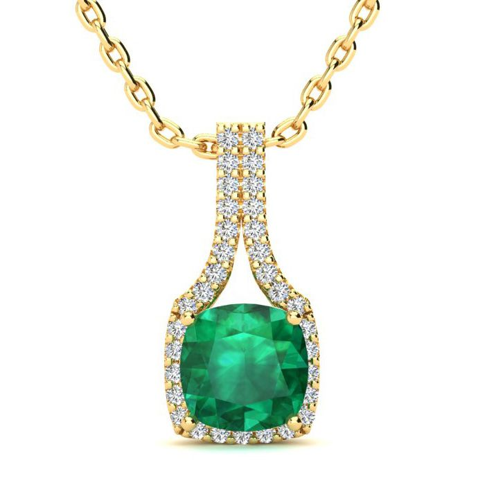2 Carat Cushion Cut Emerald & Classic Halo Diamond Necklace in 14K Yellow Gold (2.8 g), 18 Inches, I/J by SuperJeweler